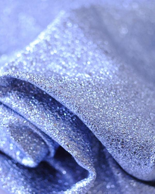 blauw metallic leer